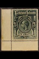1912  3s Slate Green, Wmk MCA, Geo V, SG 66, Very Fine NHM Corner Copy. For More Images, Please Visit Http://www.sandafa - Falkland Islands