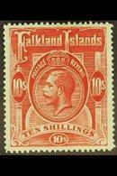 1912-20  10s Red/green, SG 68, Fine Mint For More Images, Please Visit Http://www.sandafayre.com/itemdetails.aspx?s=6283 - Falkland Islands