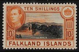 1938-50  10s Black & Orange Brown, SG 162, Fine Mint For More Images, Please Visit Http://www.sandafayre.com/itemdetails - Falkland Islands