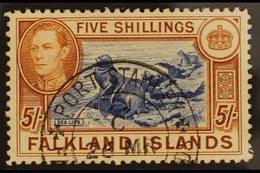 1938-50  5s Blue & Chestnut, SG 161, Very Fine Cds Used For More Images, Please Visit Http://www.sandafayre.com/itemdeta - Falkland Islands