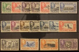1938-50  KGVI Pictorial Definitive Complete Set, SG 146/163, Very Fine Mint. (18 Stamps) For More Images, Please Visit H - Falkland Islands