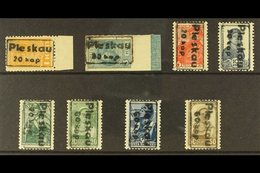 RUSSIA - PLESKAU  1941 Framed 20k & 60k Surcharges Set Complete, Michel 2a/9, Mint, The 3k, 5k & 10k Values Never Hinged - Germany