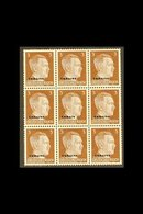 """UKRAINE  1941 3pf Red- Brown Block Of Nine, The Central Stamp With """"UKRAIN"""" OVERPRINT ERROR, Michel 2+2 I, Never Hinged  - Germany"""