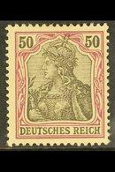 1902  50pf Black & Purple On Rose Germania (Michel 76, SG 75), Never Hinged Mint, Very Fresh, ExpertizedHenniesBPP. Fo - Germany