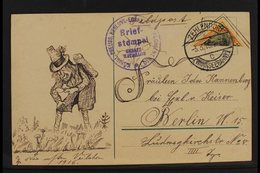 """1916 BISECT  Feldpost Card Bearing 25pf Germania Diagonally BISECTED Stamp Tied By """"Zehlendorf"""" Cds Cancel, With Regimen - Germany"""