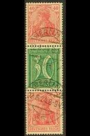 1921  40pf+30pf+40pf Germania & Numerals Vertical SE-TENANT STRIP Of 3, Michel S 30, Very Fine Cds Used, Fresh & Scarce, - Germany