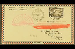 1931  GRAF ZEPPELIN POLAR FLIGHT, Superb Airmail Cover Franked Germany 1931 4Rm Polar Flight Adhesive Tied By Berlin Cds - Germany