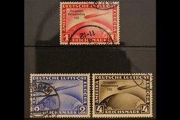 1933 ZEPPELIN  Air Chicago World Exhibition Flight Of Graf Zeppelin Overprints Complete Set (Michel 496/98, SG 510/12),  - Germany