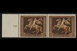 1938  42pf Brown Ribbon (Michel 671y, SG 659), Left Marginal HORIZONTAL PAIR, Very Fine Never Hinged Mint. For More Imag - Germany