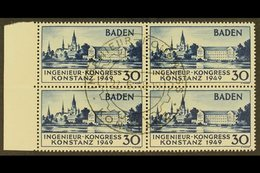 FRENCH ZONE  BADEN 1949 30pf Blue Engineers' Congress (Michel 46 I, FB46), Superb Used Marginal BLOCK Of 4 With Central  - Germany