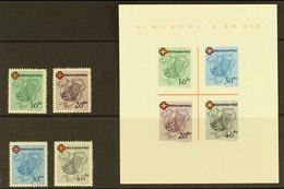 FRENCH ZONE  RHEINLAND-PFALZ 1949 Red Cross Complete Set & Mini-sheet Type IV (Michel 42/45 & Block 1 II/IV, SG FR42/45  - Germany