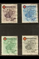 """FRENCH ZONE  RHEINLAND-PFALZ 1949 Red Cross Complete Set (Michel 42/45, SG FR42/45), Superb Cds Used With Matching """"Ebin - Germany"""