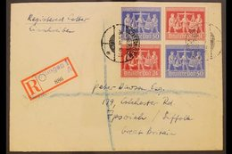 GENERAL ISSUES  1948 Hannover Fair Se-tenant Block Of 4 (Michel V Zd 1), Fine Used On Registered Cover From Gottingen To - Germany