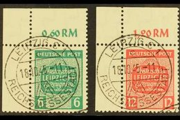 RUSSIAN ZONE  WEST SAXONY 1945 Leipzig Fair Watermark Descending Steps Complete Set, Michel 124/25 X, Superb Cds Used Up - Germany