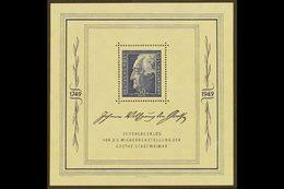 RUSSIAN ZONE  GENERAL ISSUES 1949 Goethe Festival Week Mini-sheet (Michel Block 6, SG MSR59a), Superb Never Hinged Mint, - Germany