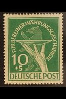 1949  10pf Green Berlin Relief Fund PLATE FLAW, Michel 68 II, Never Hinged Mint, Fresh & Scarce. For More Images, Please - [5] Berlin