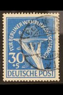 1949  30pf Blue Berlin Relief Fund PLATE FLAW, Michel 70 I, Fine Cds Used, Fresh & Scarce, Signed Georg Buhler. For More - [5] Berlin