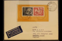 1950  DEBRIA Exhibition Miniature Sheet (Michel Block 7, SG MSE29a), Fine Used On Cover Addressed To England And Cancell - [6] Democratic Republic