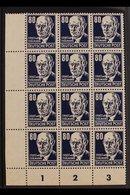 1952-53  80pf Blackish Blue Thalmann Ordinary Paper (Michel 339z, SG E94), Never Hinged Mint Lower Left Corner BLOCK Of  - [6] Democratic Republic