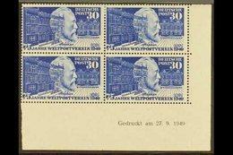 1949  30pf Ultramarine UPU (Michel 116, SG 1038), Superb Mint (lower Pair Never Hinged) Lower Right Corner DATED BLOCK O - [6] República Democrática