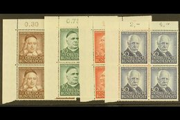 1953  Humanitarian Relief Fund Complete Set (Michel 173/76, SG 1099/1102), Superb Never Hinged Mint Upper Left Corner BL - [6] Democratic Republic