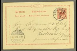 """SOUTH WEST AFRICA  1898 (3 Mar) 10pf With Diagonal Opt Postal Stationery Card To Germany Cancelled By Fine """"SWAKOPMUND""""  - Germany"""