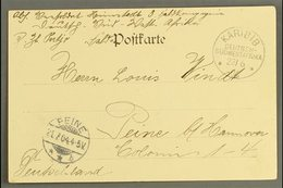 """SOUTH WEST AFRICA  1904 (23 Jun) Stampless Picture Postcard To Germany Showing A Very Fine """"KARIBIB"""" Cds Postmark, Peine - Germany"""
