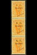 """1917  SPECIMEN 1l On 3l Orange, Vertical Strip Of 3 With """"SPECIMEN"""" Overprints, SG C303, Very Fine, Never Hinged Mint. F - Greece"""