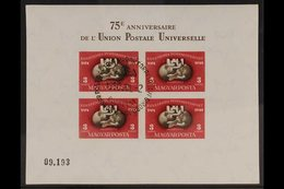 1950  (2 July) UPU 75th Anniversary Miniature Sheet IMPERF, Michel Block 18B, Superb Used With First Day Special Cancel. - Hungary