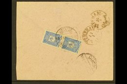 """TURKEY USED IN  1906 Cover Addressed In Arabic To Persia, Bearing Turkey 1905 1pi Pair Tied By Bilingual """"NEDJEF ECHREF"""" - Iraq"""