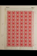 POSTAGE DUE  1941 1d Carmine, Hib, PD6, SG D6, COMPLETE SHEET OF 60, Showing Varieties R1/6 Bulge, 4/4 Break, 7/2 & 7/4  - Unclassified