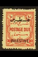 OCCUPATION OF PALESTINE  1948 Postage Due 10m Scarlet Perf 14, Wmk Mult Script, SG PD19, Fine Nhm. For More Images, Plea - Jordan