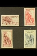 IMPERF COLOUR TRIALS  1958. Laotian Elephant Issue 2k, 5k (x2 Different) & 10k IMPERF Single Colour Trials. Never Hinged - Laos