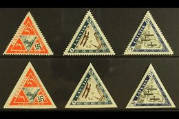 1933  Wounded Airmen Triangular Perforated & Imperforate Sets, Mi 225A/227A & 225B/227B, SG 240A/42A & 240B/42B, Fine Mi - Latvia