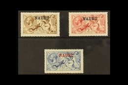 1916-18 SEAHORSES  2s.6d Brown, 5s Bright Carmine, 10s Pale Blue, SG 21/23, Fine Mint. (3 Stamps) For More Images, Pleas - Nauru