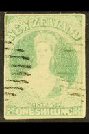 1857 - 63  1s Blue Green On Soft White Paper, Imperf, SG 17, Very Fine Used With Clear Margins All Round And Light Cance - New Zealand