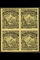 1898  ½d Mount Cook (as SG 246 Etc.) - An IMPERF PROOF BLOCK OF FOUR In Black On Ungummed Paper, Very Fine. For More Ima - New Zealand
