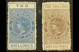 1913-21 POSTAL FISCAL  2s Deep Blue & 2s6d Grey Brown, SG F111/112, Fine Mint (2 Stamps) For More Images, Please Visit H - New Zealand