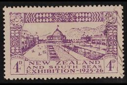 """1925  4d Dunedin Exhibition, """"POSTAGF."""" VARIETY At Right, SG 465a, Very Fine Used. For More Images, Please Visit Http:// - New Zealand"""
