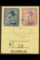 """1926-34  2s Deep Blue & 3s Mauve Admirals, SG 466/67, Very Fine Cds Used On Piece Tied By """"Ellerslie"""" Cds Cancel, Plus R - New Zealand"""