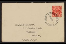 """1938  (March) Envelope To England, Bearing Australia 2d Head Tied By Fine """"AUCKLAND N.Z. LOOSE LETTER"""" Cds. For More Ima - New Zealand"""
