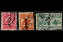 OFFICIALS  1907-11 6d Bright Carmine-pink, 1s Orange-red & 2s Blue-green, SG O64/6, Good To Fine Used (3 Stamps). For Mo - New Zealand
