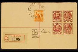 1951  (Nov) Cover To England Franked Australia ½d Defin & 3d Centenary Block Of Four Tied By ANGORAM Postmarks Plus Regi - Papua New Guinea