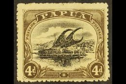 """1910-11  4d Black And Sepia, Deformed """"d"""" At Left, SG 79a, Mint With Gum Toning. For More Images, Please Visit Http://ww - Papua New Guinea"""