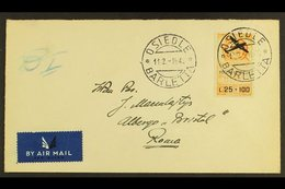 """POLISH ARMY IN ITALY  1946 25L+100L Orange Air """"Poczta Lotnicza"""" Overprint IMPERF (Sassone 3a) Very Fine Used On Cover A - Unclassified"""