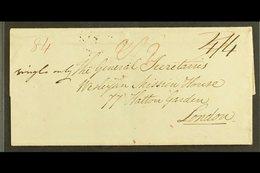 1827  (27 June) Wesleyan Missionary EL To London With Two Fair Strikes Of The St Vincent Fleuron Alongside London Arriva - St.Vincent (...-1979)