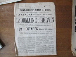 SAINT-LAURENT-BLANGY & ATHIES LE 7 JUILLET 1892 ADJUDICATION PUBLIQUE DU DOMAINE D'HERVIN FERME 188 Ha  28cm/22cm - Affiches
