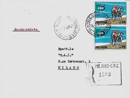 Milano 26-2-1968 Raccomandata Con Coppia £ 90 (n.cat. Unif.1094) - Ciclismo