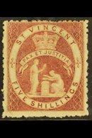 1880  5s Rose Red, SG 32, Fine Mint With Rich Even Colour And Large Part Original Gum. For More Images, Please Visit Ht - St.Vincent (...-1979)