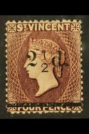 1890  2½d On 4d Chocolate, SG 54, Mint, Only The Slightest Trace Of Fraction Bar Visible. For More Images, Please Visit  - St.Vincent (...-1979)